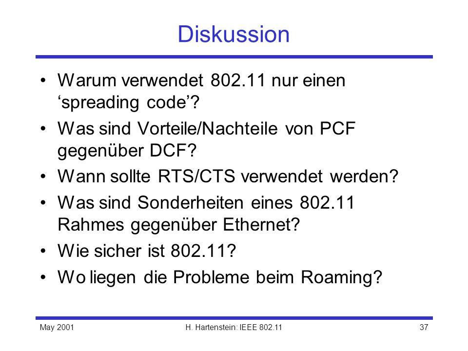 May 2001H. Hartenstein: IEEE 802.1137 Diskussion Warum verwendet 802.11 nur einen spreading code? Was sind Vorteile/Nachteile von PCF gegenüber DCF? W