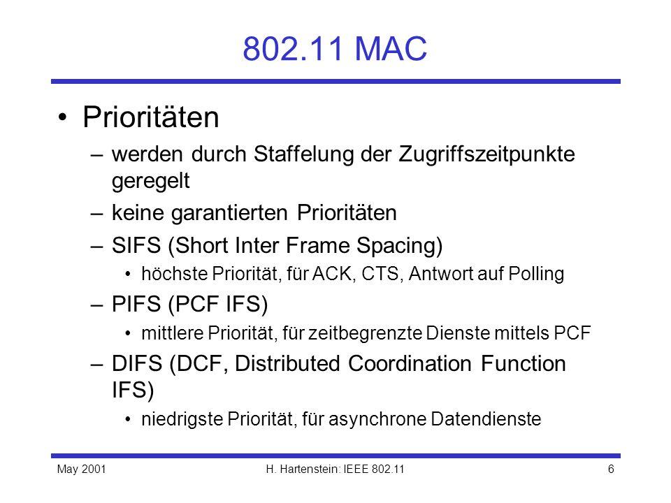 May 2001H. Hartenstein: IEEE 802.116 802.11 MAC Prioritäten –werden durch Staffelung der Zugriffszeitpunkte geregelt –keine garantierten Prioritäten –