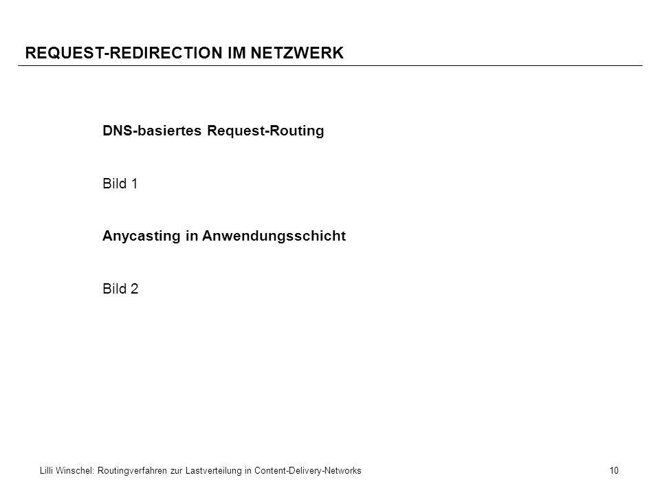 10Lilli Winschel: Routingverfahren zur Lastverteilung in Content-Delivery-Networks REQUEST-REDIRECTION IM NETZWERK DNS-basiertes Request-Routing Bild
