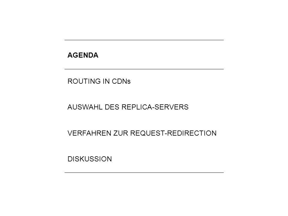 2Lilli Winschel: Routingverfahren zur Lastverteilung in Content-Delivery-Networks AGENDA ROUTING IN CDNs AUSWAHL DES REPLICA-SERVERS VERFAHREN ZUR REQ