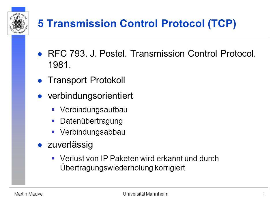 Martin MauveUniversität Mannheim1 5 Transmission Control Protocol (TCP) RFC 793. J. Postel. Transmission Control Protocol. 1981. Transport Protokoll v