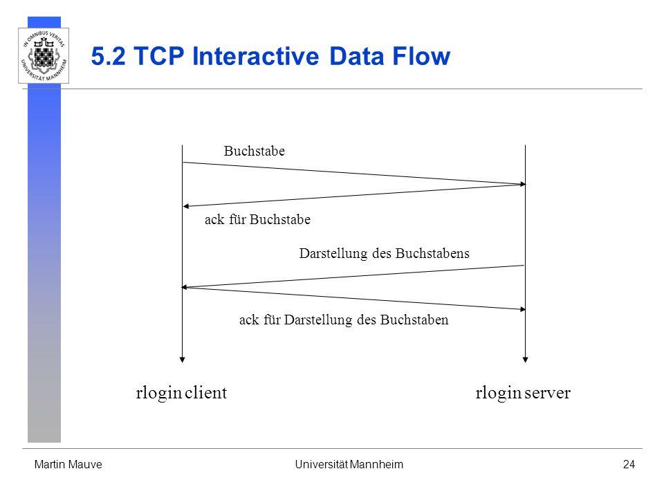 Martin MauveUniversität Mannheim24 5.2 TCP Interactive Data Flow Buchstabe ack für Buchstabe Darstellung des Buchstabens ack für Darstellung des Buchstaben rlogin clientrlogin server