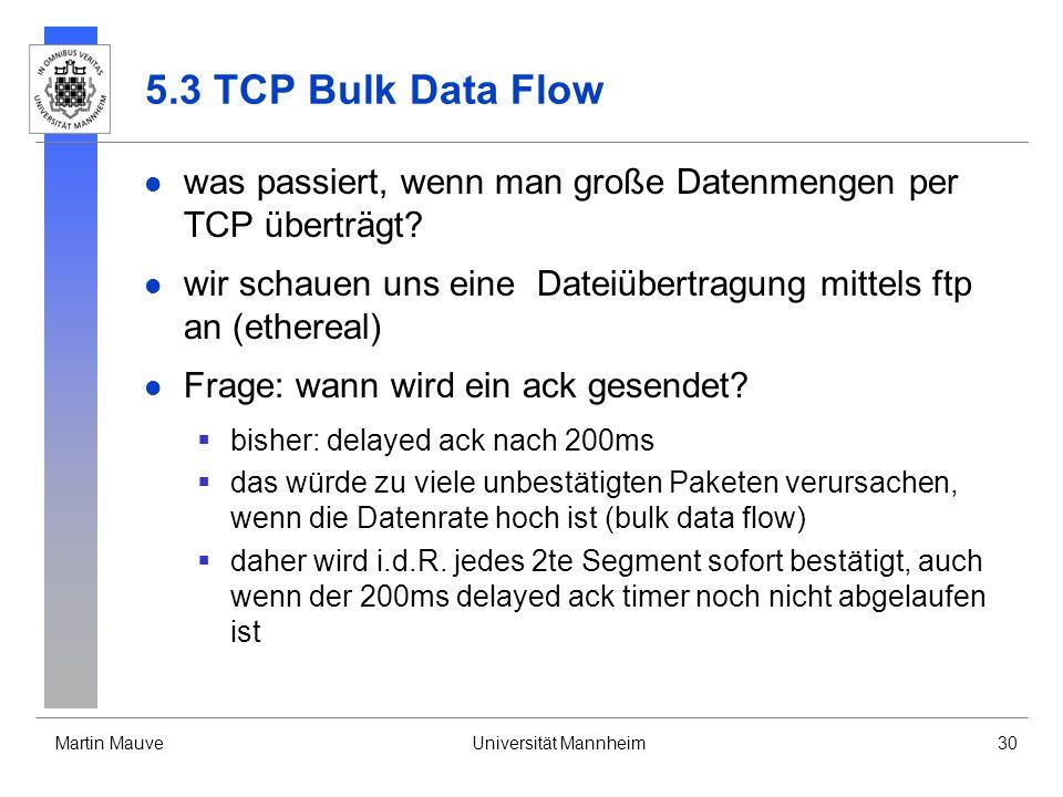 Martin MauveUniversität Mannheim30 5.3 TCP Bulk Data Flow was passiert, wenn man große Datenmengen per TCP überträgt? wir schauen uns eine Dateiübertr