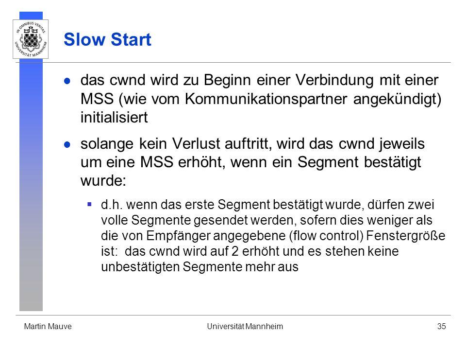 Martin MauveUniversität Mannheim35 Slow Start das cwnd wird zu Beginn einer Verbindung mit einer MSS (wie vom Kommunikationspartner angekündigt) initialisiert solange kein Verlust auftritt, wird das cwnd jeweils um eine MSS erhöht, wenn ein Segment bestätigt wurde: d.h.