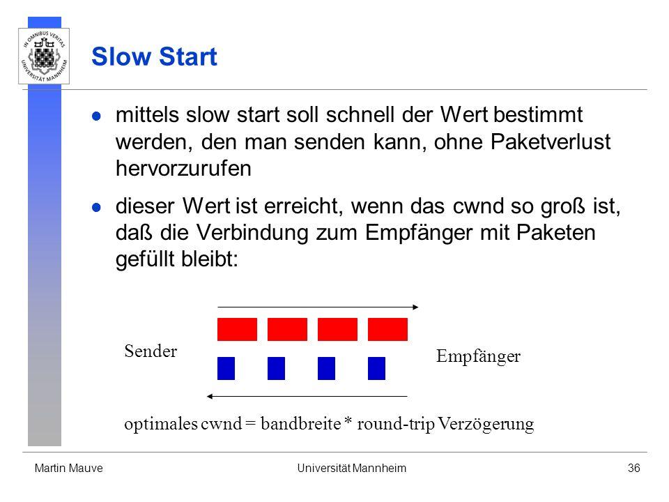 Martin MauveUniversität Mannheim36 Slow Start mittels slow start soll schnell der Wert bestimmt werden, den man senden kann, ohne Paketverlust hervorz