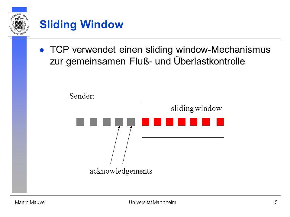 Martin MauveUniversität Mannheim5 Sliding Window TCP verwendet einen sliding window-Mechanismus zur gemeinsamen Fluß- und Überlastkontrolle Sender: sliding window acknowledgements