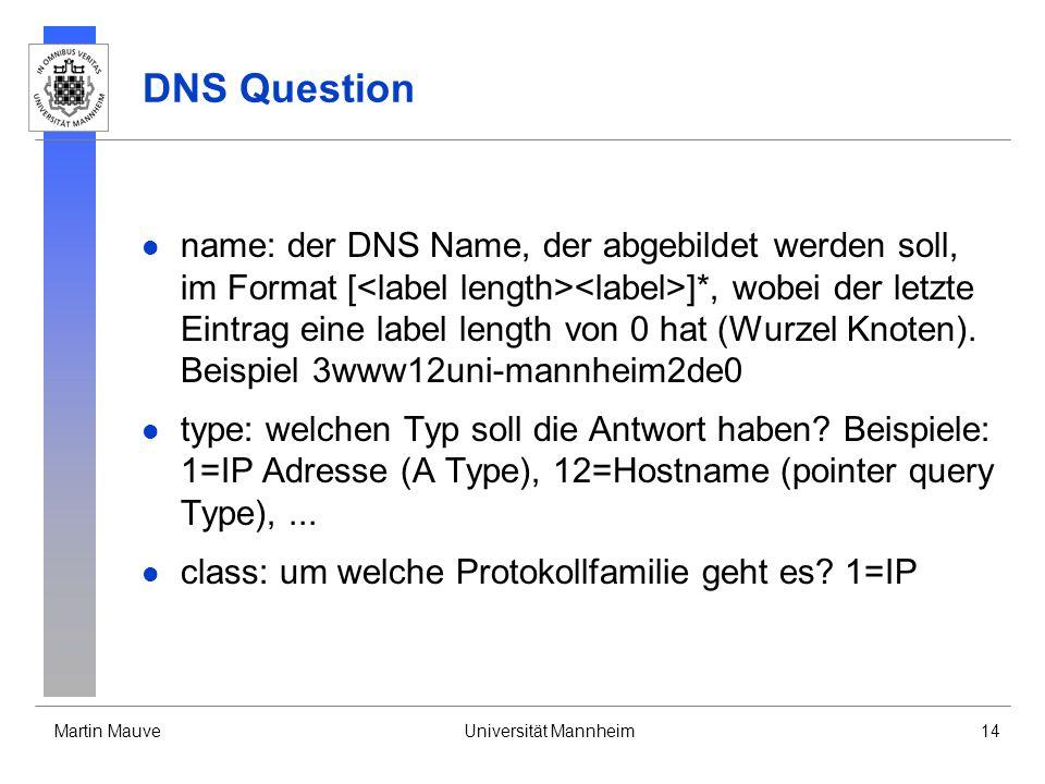 Martin MauveUniversität Mannheim14 DNS Question name: der DNS Name, der abgebildet werden soll, im Format [ ]*, wobei der letzte Eintrag eine label le