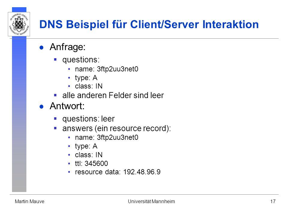 Martin MauveUniversität Mannheim17 DNS Beispiel für Client/Server Interaktion Anfrage: questions: name: 3ftp2uu3net0 type: A class: IN alle anderen Fe