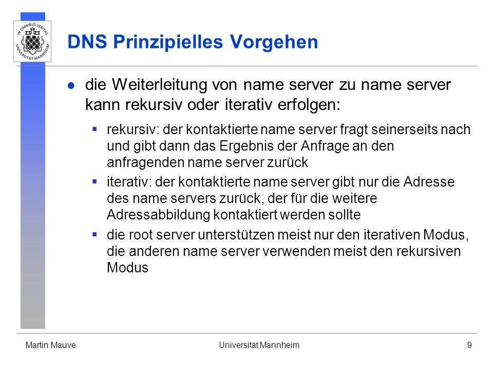 Martin MauveUniversität Mannheim9 DNS Prinzipielles Vorgehen die Weiterleitung von name server zu name server kann rekursiv oder iterativ erfolgen: re