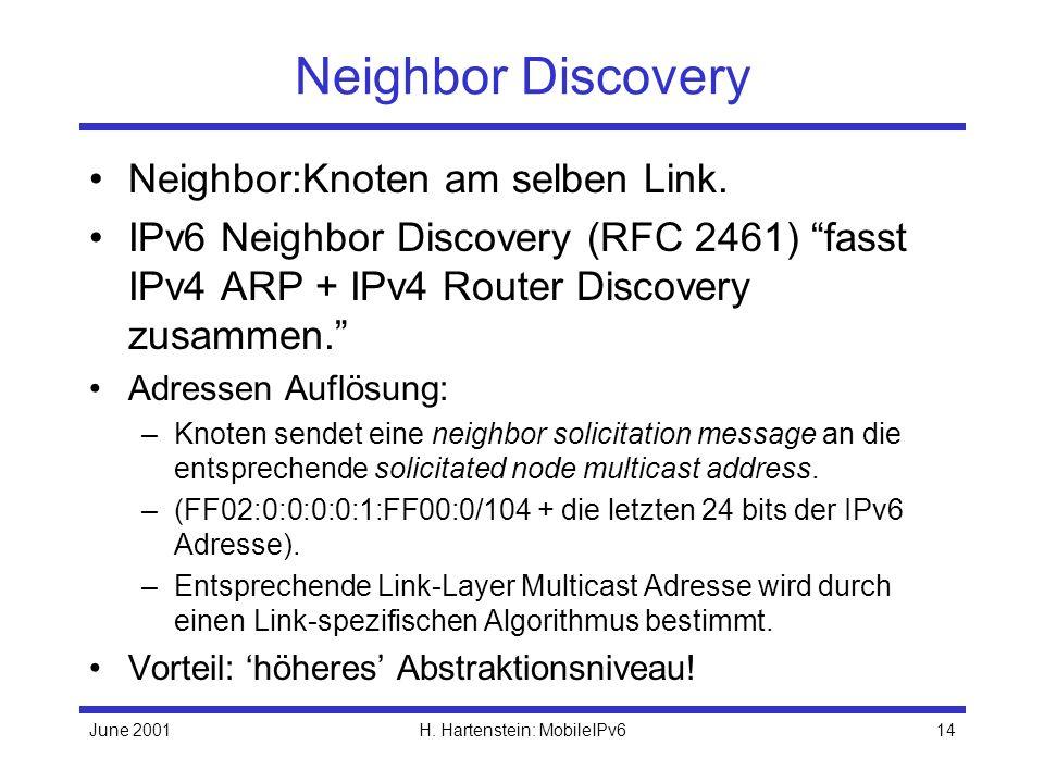 June 2001H. Hartenstein: MobileIPv614 Neighbor Discovery Neighbor:Knoten am selben Link.