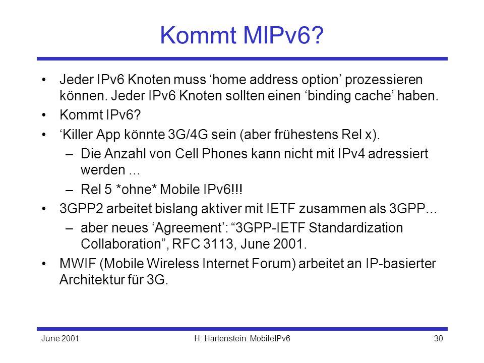 June 2001H. Hartenstein: MobileIPv630 Kommt MIPv6.