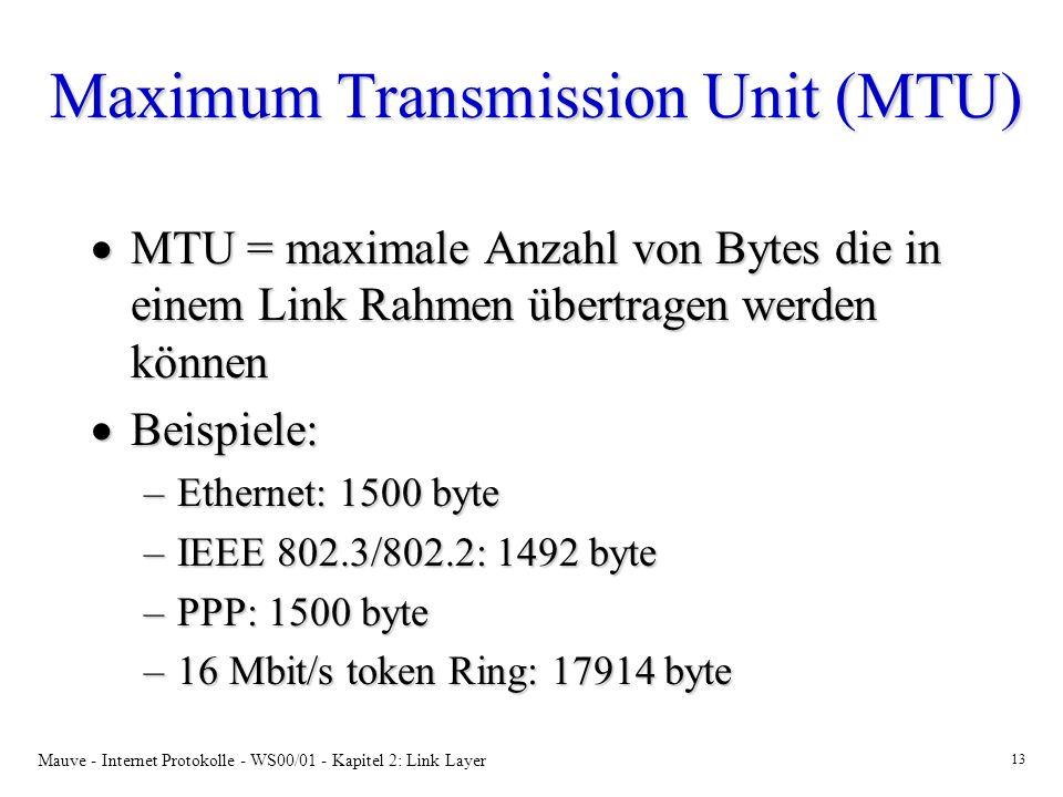 Mauve - Internet Protokolle - WS00/01 - Kapitel 2: Link Layer 13 Maximum Transmission Unit (MTU) MTU = maximale Anzahl von Bytes die in einem Link Rahmen übertragen werden können MTU = maximale Anzahl von Bytes die in einem Link Rahmen übertragen werden können Beispiele: Beispiele: –Ethernet: 1500 byte –IEEE 802.3/802.2: 1492 byte –PPP: 1500 byte –16 Mbit/s token Ring: 17914 byte