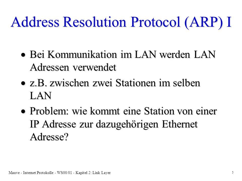 Mauve - Internet Protokolle - WS00/01 - Kapitel 2: Link Layer 5 Address Resolution Protocol (ARP) I Bei Kommunikation im LAN werden LAN Adressen verwendet Bei Kommunikation im LAN werden LAN Adressen verwendet z.B.
