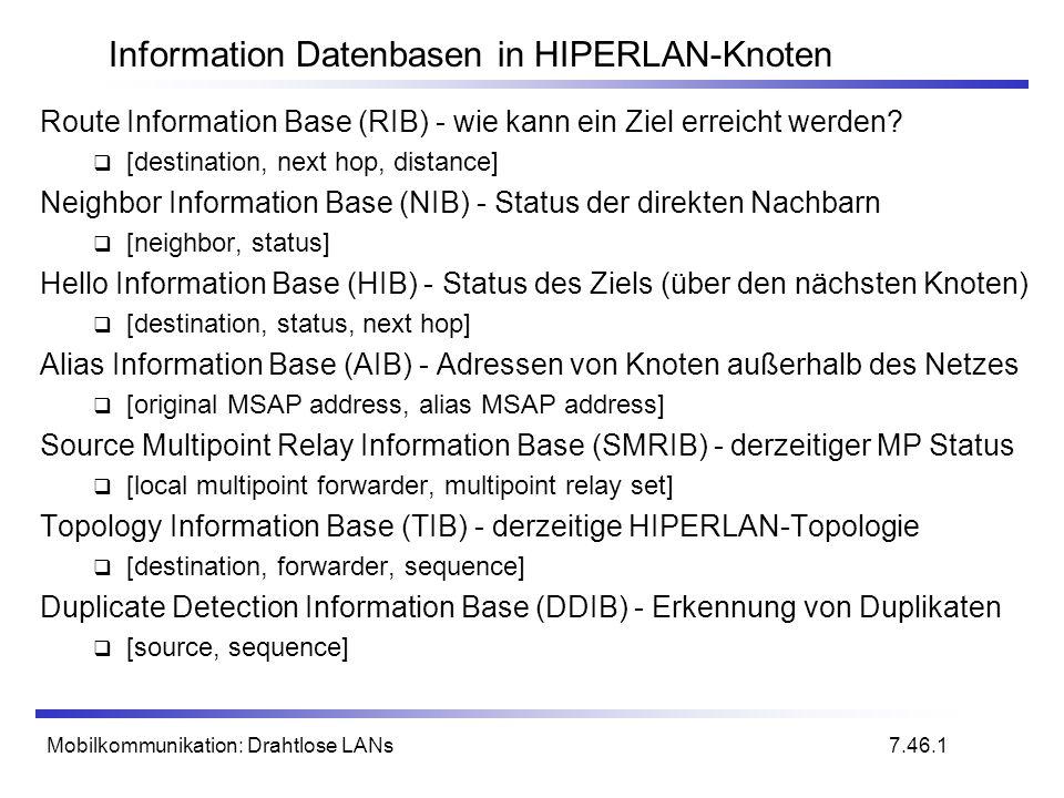 Mobilkommunikation: Drahtlose LANs Information Datenbasen in HIPERLAN-Knoten Route Information Base (RIB) - wie kann ein Ziel erreicht werden.