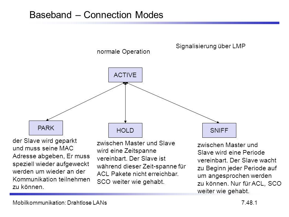 Mobilkommunikation: Drahtlose LANs Baseband – Connection Modes ACTIVE PARK HOLDSNIFF 7.48.1 normale Operation zwischen Master und Slave wird eine Periode vereinbart.