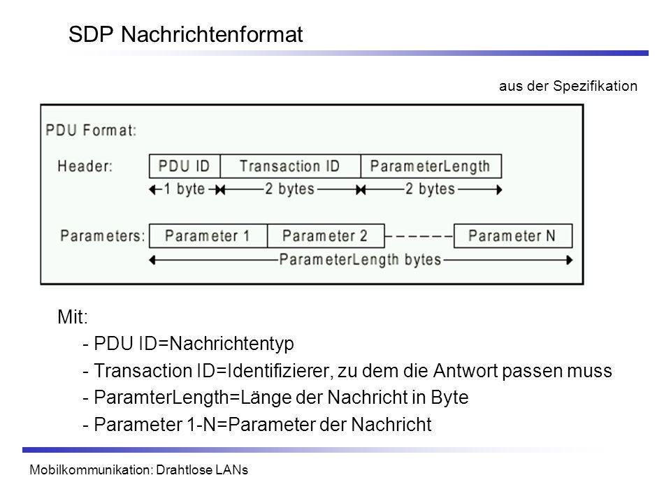 Mobilkommunikation: Drahtlose LANs SDP Nachrichtenformat Mit: - PDU ID=Nachrichtentyp - Transaction ID=Identifizierer, zu dem die Antwort passen muss - ParamterLength=Länge der Nachricht in Byte - Parameter 1-N=Parameter der Nachricht aus der Spezifikation