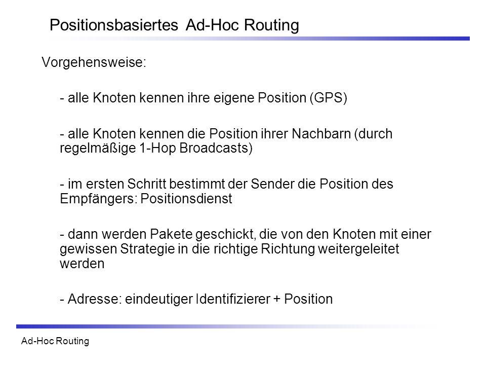 Ad-Hoc Routing Positionsbasiertes Ad-Hoc Routing Vorgehensweise: - alle Knoten kennen ihre eigene Position (GPS) - alle Knoten kennen die Position ihrer Nachbarn (durch regelmäßige 1-Hop Broadcasts) - im ersten Schritt bestimmt der Sender die Position des Empfängers: Positionsdienst - dann werden Pakete geschickt, die von den Knoten mit einer gewissen Strategie in die richtige Richtung weitergeleitet werden - Adresse: eindeutiger Identifizierer + Position