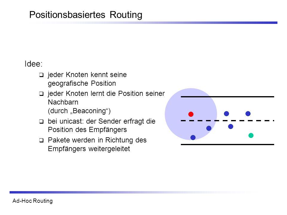 Ad-Hoc Routing Positionsbasiertes Routing Idee: jeder Knoten kennt seine geografische Position jeder Knoten lernt die Position seiner Nachbarn (durch Beaconing) bei unicast: der Sender erfragt die Position des Empfängers Pakete werden in Richtung des Empfängers weitergeleitet