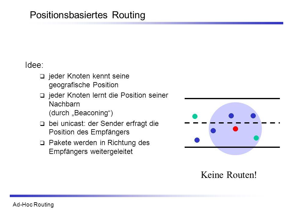 Ad-Hoc Routing Positionsbasiertes Routing Keine Routen.
