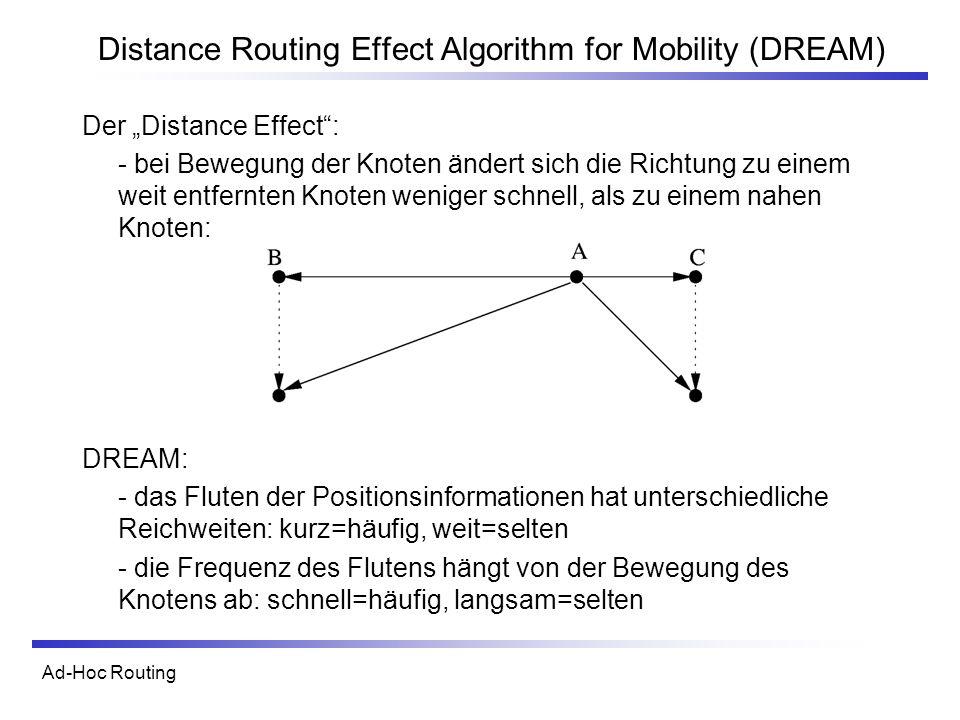 Ad-Hoc Routing Distance Routing Effect Algorithm for Mobility (DREAM) Der Distance Effect: - bei Bewegung der Knoten ändert sich die Richtung zu einem weit entfernten Knoten weniger schnell, als zu einem nahen Knoten: DREAM: - das Fluten der Positionsinformationen hat unterschiedliche Reichweiten: kurz=häufig, weit=selten - die Frequenz des Flutens hängt von der Bewegung des Knotens ab: schnell=häufig, langsam=selten