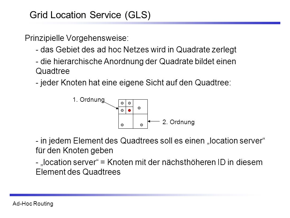 Ad-Hoc Routing Grid Location Service (GLS) Prinzipielle Vorgehensweise: - das Gebiet des ad hoc Netzes wird in Quadrate zerlegt - die hierarchische Anordnung der Quadrate bildet einen Quadtree - jeder Knoten hat eine eigene Sicht auf den Quadtree: - in jedem Element des Quadtrees soll es einen location server für den Knoten geben - location server = Knoten mit der nächsthöheren ID in diesem Element des Quadtrees 1.