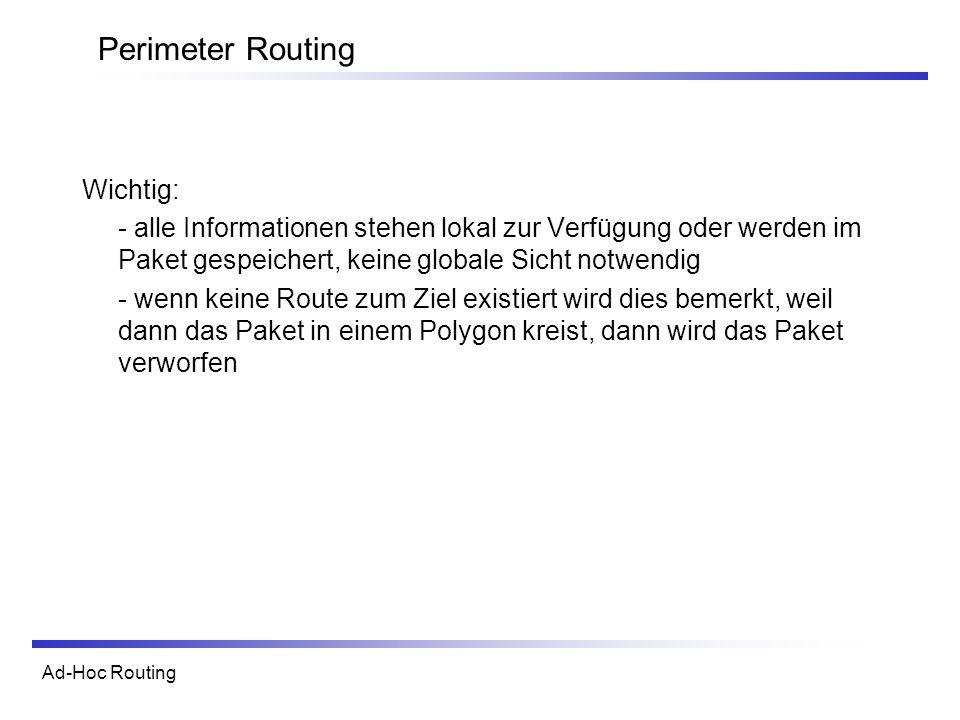 Ad-Hoc Routing Perimeter Routing Wichtig: - alle Informationen stehen lokal zur Verfügung oder werden im Paket gespeichert, keine globale Sicht notwendig - wenn keine Route zum Ziel existiert wird dies bemerkt, weil dann das Paket in einem Polygon kreist, dann wird das Paket verworfen