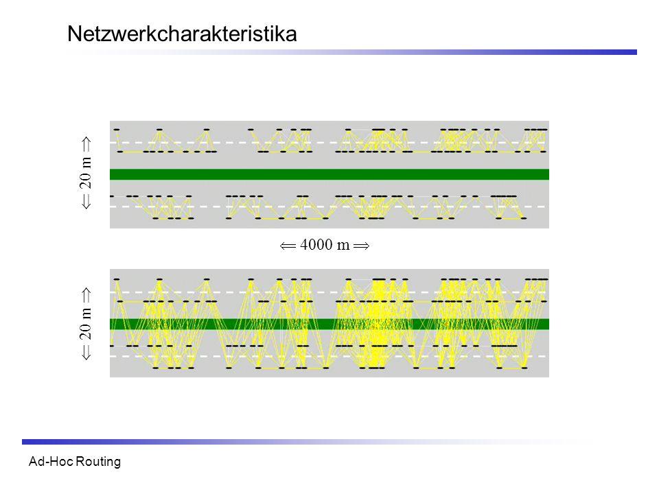 Ad-Hoc Routing Netzwerkcharakteristika 4000 m 20 m