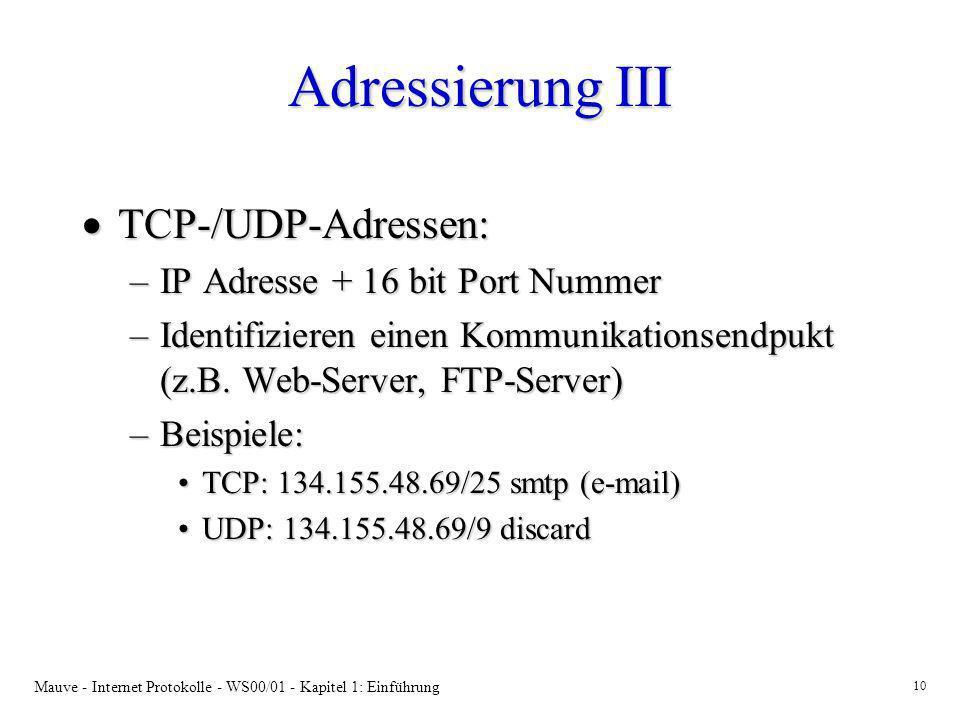 Mauve - Internet Protokolle - WS00/01 - Kapitel 1: Einführung 10 Adressierung III TCP-/UDP-Adressen: TCP-/UDP-Adressen: –IP Adresse + 16 bit Port Numm