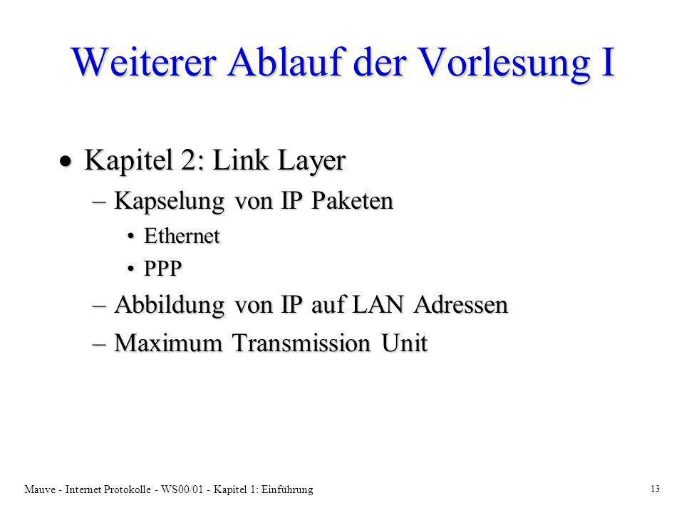 Mauve - Internet Protokolle - WS00/01 - Kapitel 1: Einführung 13 Weiterer Ablauf der Vorlesung I Kapitel 2: Link Layer Kapitel 2: Link Layer –Kapselun