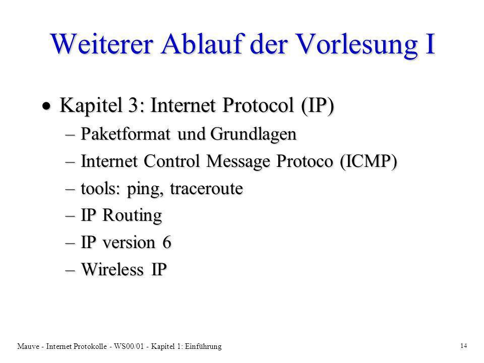 Mauve - Internet Protokolle - WS00/01 - Kapitel 1: Einführung 14 Weiterer Ablauf der Vorlesung I Kapitel 3: Internet Protocol (IP) Kapitel 3: Internet
