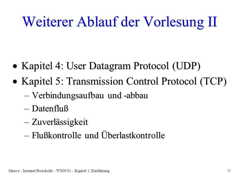 Mauve - Internet Protokolle - WS00/01 - Kapitel 1: Einführung 15 Weiterer Ablauf der Vorlesung II Kapitel 4: User Datagram Protocol (UDP) Kapitel 4: U