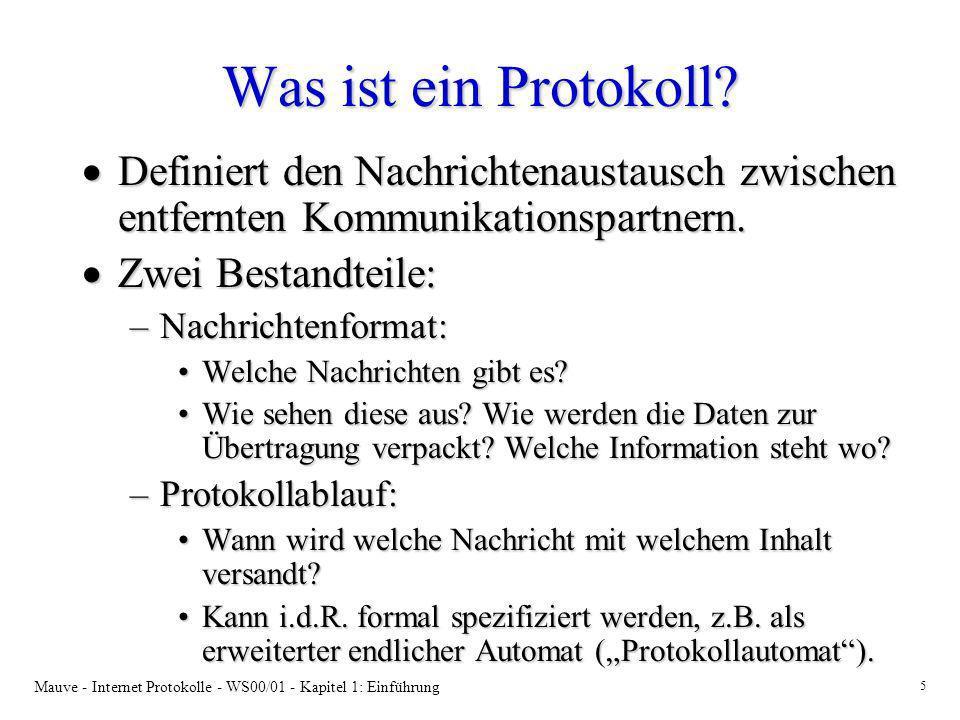 Mauve - Internet Protokolle - WS00/01 - Kapitel 1: Einführung 5 Was ist ein Protokoll? Definiert den Nachrichtenaustausch zwischen entfernten Kommunik