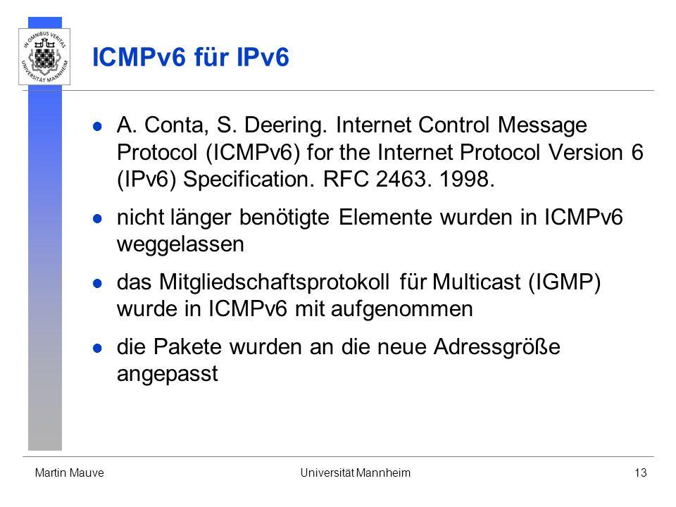 Martin MauveUniversität Mannheim13 ICMPv6 für IPv6 A. Conta, S. Deering. Internet Control Message Protocol (ICMPv6) for the Internet Protocol Version