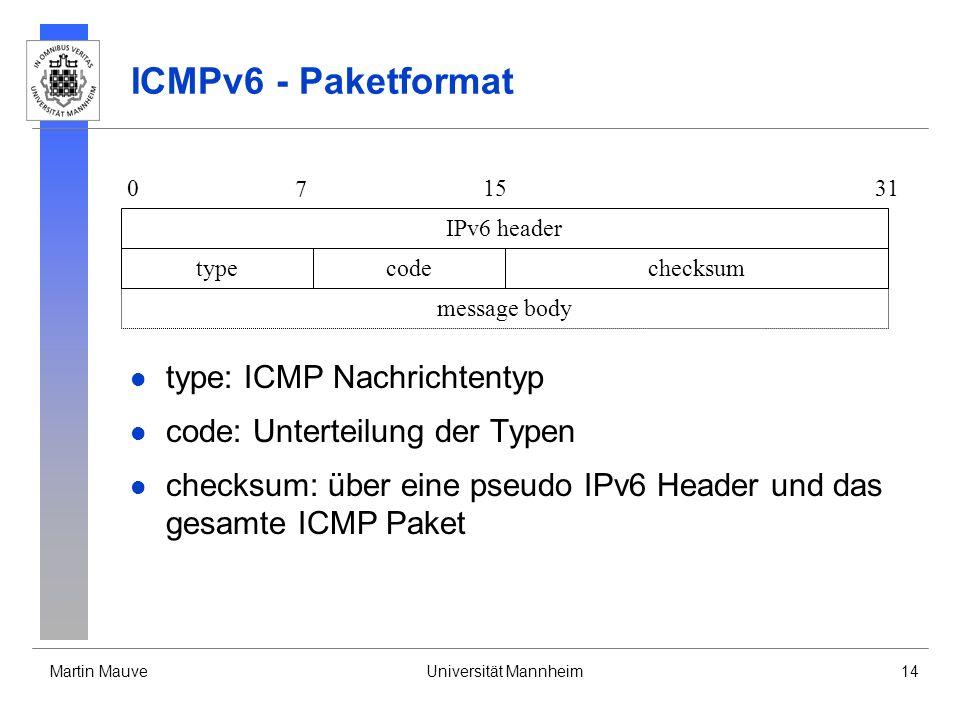 Martin MauveUniversität Mannheim14 ICMPv6 - Paketformat type: ICMP Nachrichtentyp code: Unterteilung der Typen checksum: über eine pseudo IPv6 Header