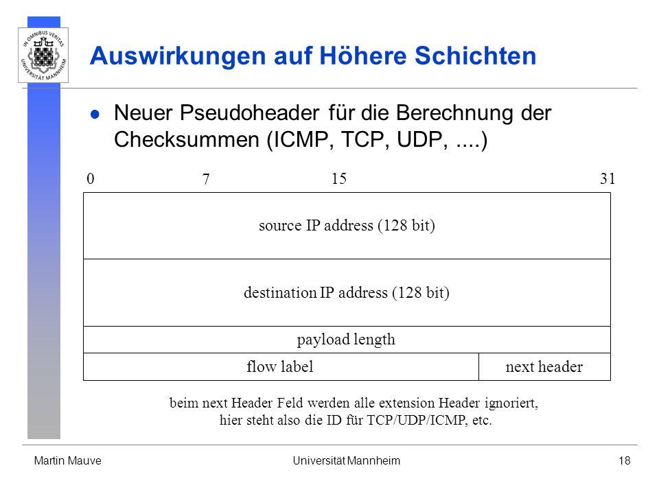 Martin MauveUniversität Mannheim18 Auswirkungen auf Höhere Schichten Neuer Pseudoheader für die Berechnung der Checksummen (ICMP, TCP, UDP,....) paylo