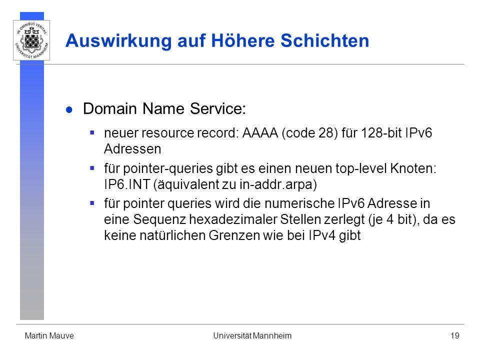 Martin MauveUniversität Mannheim19 Auswirkung auf Höhere Schichten Domain Name Service: neuer resource record: AAAA (code 28) für 128-bit IPv6 Adresse