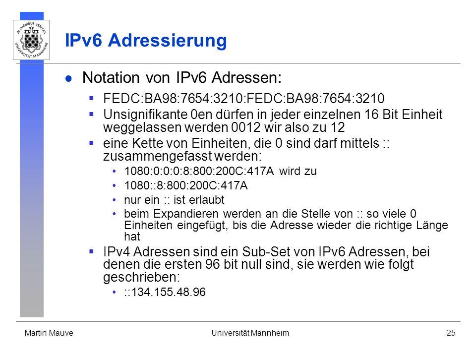 Martin MauveUniversität Mannheim25 IPv6 Adressierung Notation von IPv6 Adressen: FEDC:BA98:7654:3210:FEDC:BA98:7654:3210 Unsignifikante 0en dürfen in