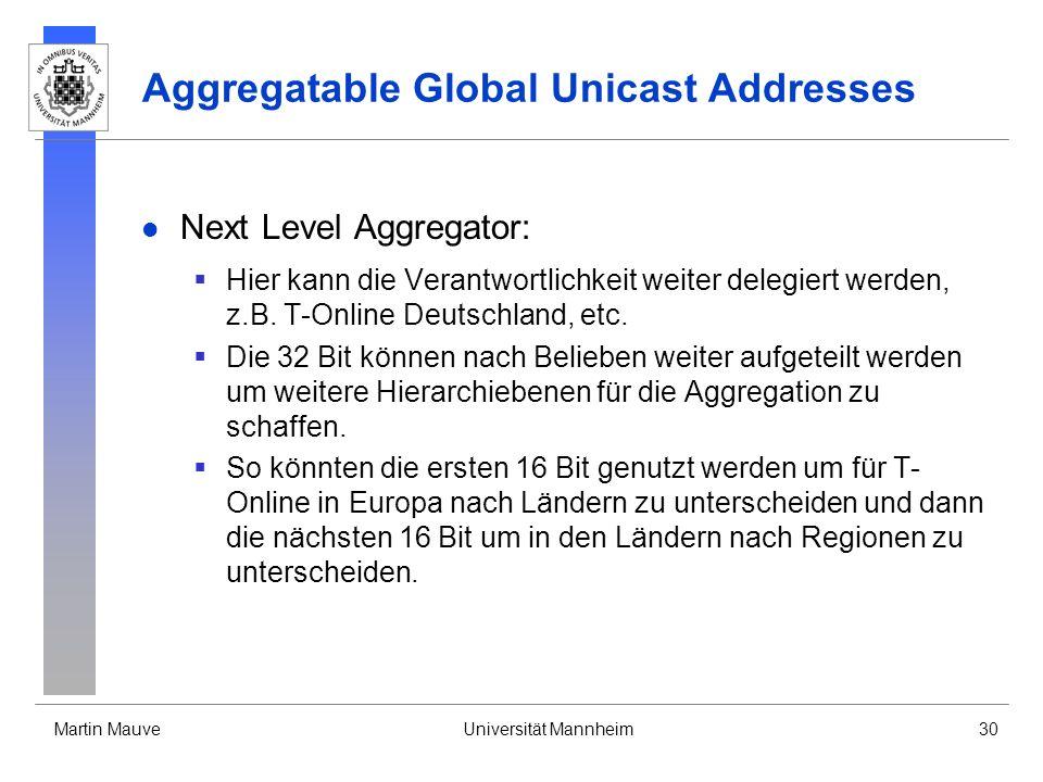 Martin MauveUniversität Mannheim30 Aggregatable Global Unicast Addresses Next Level Aggregator: Hier kann die Verantwortlichkeit weiter delegiert werd