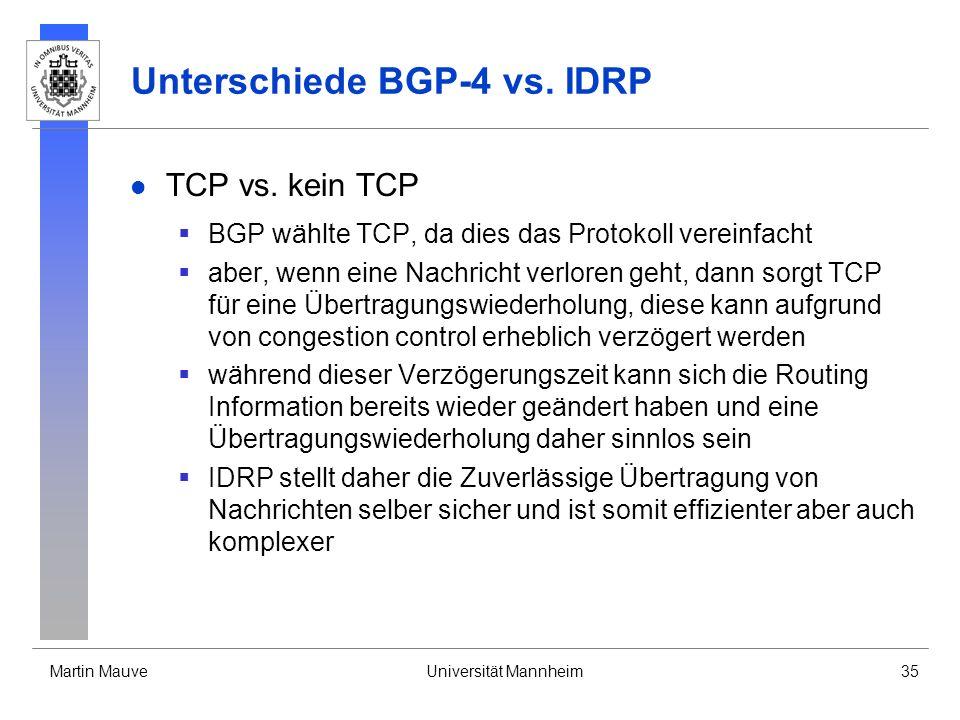 Martin MauveUniversität Mannheim35 Unterschiede BGP-4 vs. IDRP TCP vs. kein TCP BGP wählte TCP, da dies das Protokoll vereinfacht aber, wenn eine Nach
