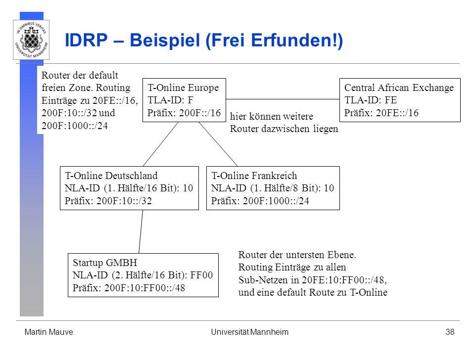 Martin MauveUniversität Mannheim38 IDRP – Beispiel (Frei Erfunden!) T-Online Europe TLA-ID: F Präfix: 200F::/16 T-Online Deutschland NLA-ID (1. Hälfte
