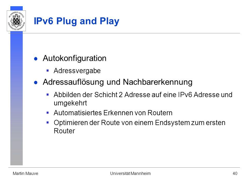 Martin MauveUniversität Mannheim40 IPv6 Plug and Play Autokonfiguration Adressvergabe Adressauflösung und Nachbarerkennung Abbilden der Schicht 2 Adre