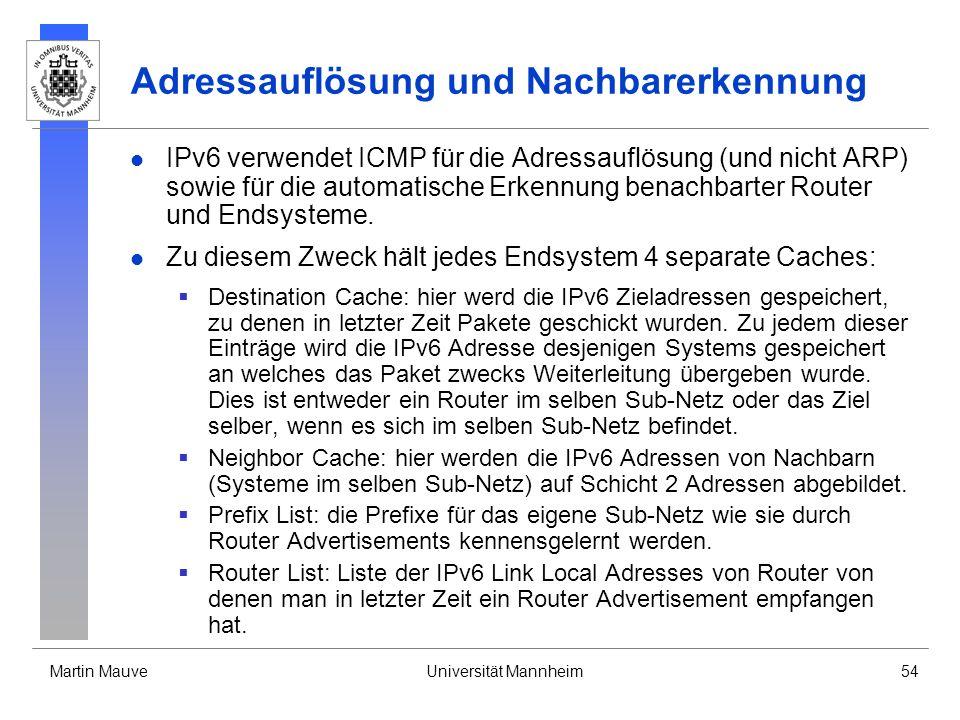 Martin MauveUniversität Mannheim54 Adressauflösung und Nachbarerkennung IPv6 verwendet ICMP für die Adressauflösung (und nicht ARP) sowie für die auto