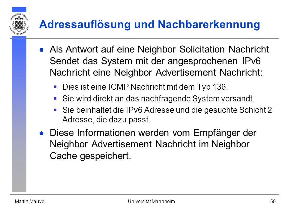 Martin MauveUniversität Mannheim59 Adressauflösung und Nachbarerkennung Als Antwort auf eine Neighbor Solicitation Nachricht Sendet das System mit der