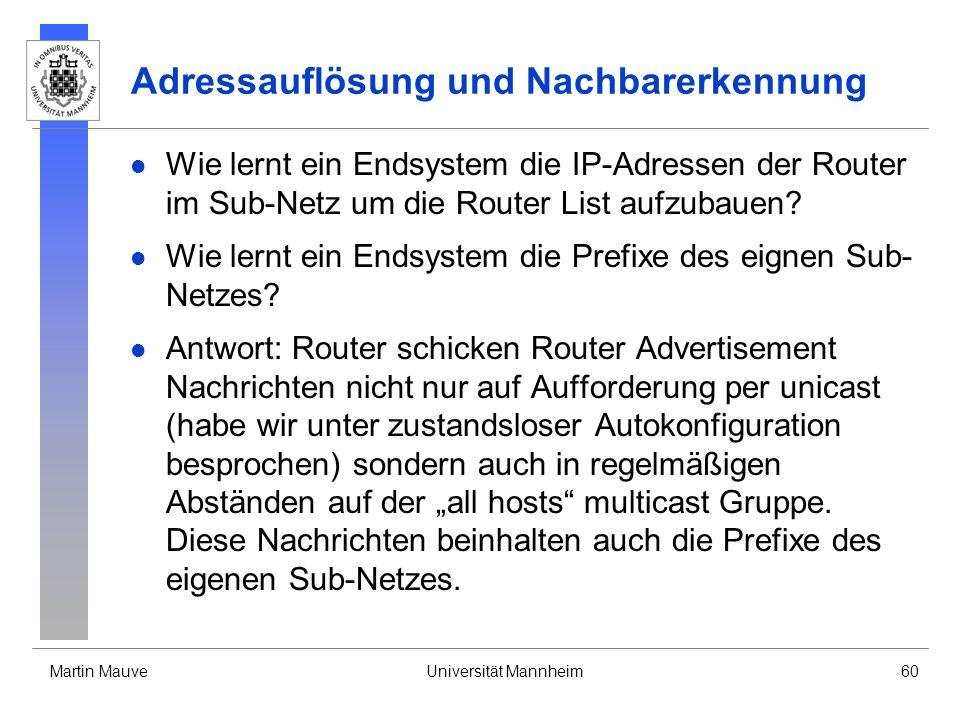 Martin MauveUniversität Mannheim60 Adressauflösung und Nachbarerkennung Wie lernt ein Endsystem die IP-Adressen der Router im Sub-Netz um die Router L