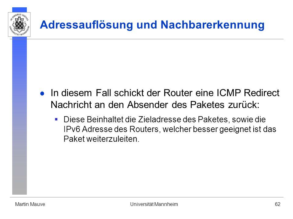 Martin MauveUniversität Mannheim62 Adressauflösung und Nachbarerkennung In diesem Fall schickt der Router eine ICMP Redirect Nachricht an den Absender