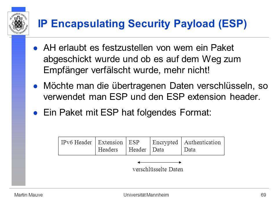 Martin MauveUniversität Mannheim69 IP Encapsulating Security Payload (ESP) AH erlaubt es festzustellen von wem ein Paket abgeschickt wurde und ob es a