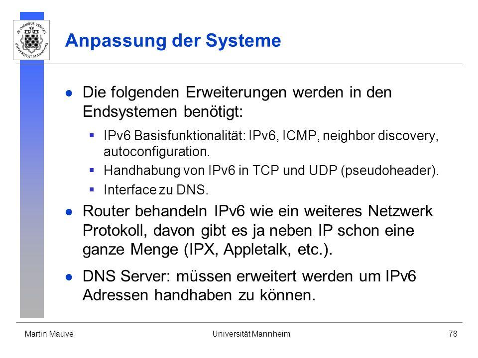 Martin MauveUniversität Mannheim78 Anpassung der Systeme Die folgenden Erweiterungen werden in den Endsystemen benötigt: IPv6 Basisfunktionalität: IPv