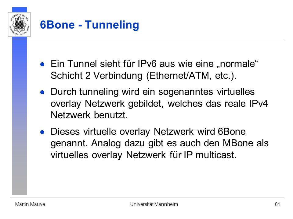 Martin MauveUniversität Mannheim81 6Bone - Tunneling Ein Tunnel sieht für IPv6 aus wie eine normale Schicht 2 Verbindung (Ethernet/ATM, etc.). Durch t