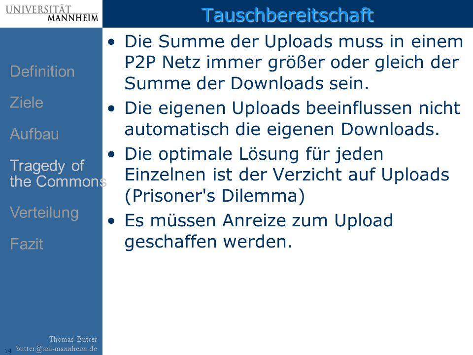 14 Thomas Butter butter@uni-mannheim.de Tauschbereitschaft Die Summe der Uploads muss in einem P2P Netz immer größer oder gleich der Summe der Downloads sein.