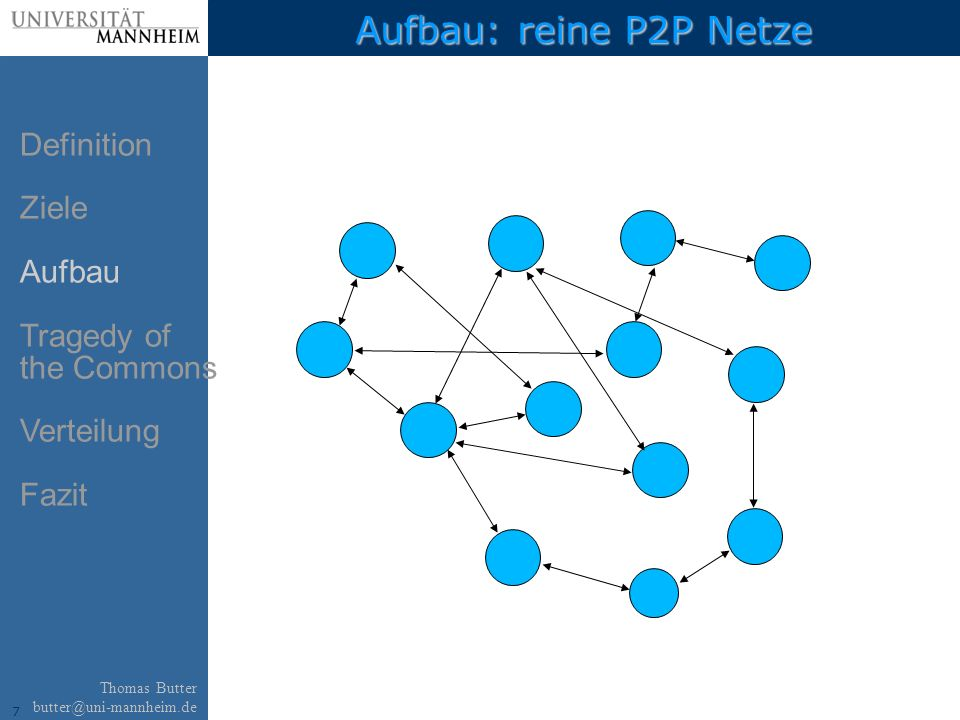 8 Thomas Butter butter@uni-mannheim.de Aufbau: reine P2P Netze Definition Ziele Aufbau Tragedy of the Commons Verteilung Fazit